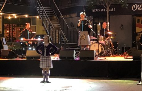 ceilidh band and dancer